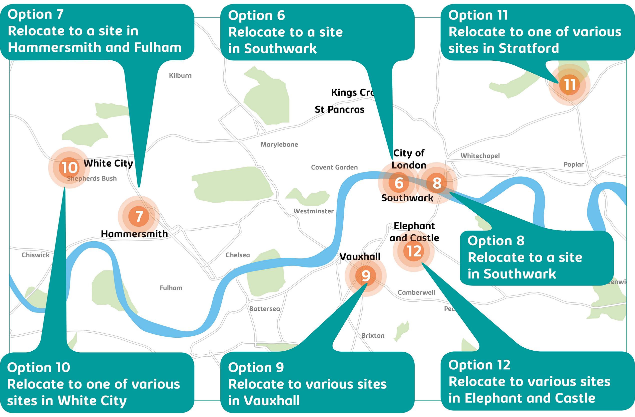 Map of options 6-12 across London. Option 6 - relocate to a site in Southwark; option 7 - relocate to a site in Hammersmith and Fulham; option 8 - relocate to a site in Southwark; option 9 - relocate to various sites in Vauxhall; option 10 - relocate to one of various sites in White City; option 11 - relocate to one of various sites in Stratford; option 12 - relocate to various sites in Elephant and Castle.
