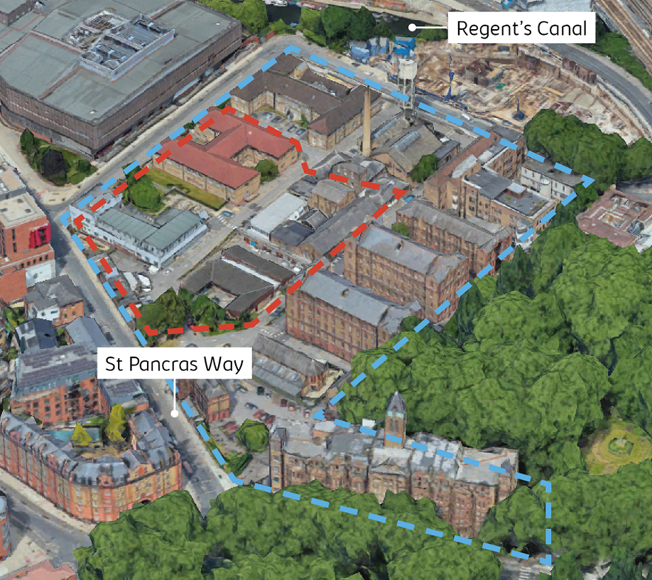 Aerial view showing the five acre St Pancras Hospital site and the current buildings with our two acre site outlined. Our proposed site is located in the north west corner of the site adjacent to St Pancras Way and Granary Street.